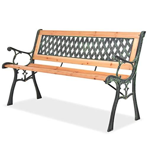 GOTOTOP Banco de patio, diseño vintage de diamante de hierro forjado con marco de madera dura, para porche, resistente a la intemperie, silla con respaldo para 2 personas, 48 x 50 x 72 cm