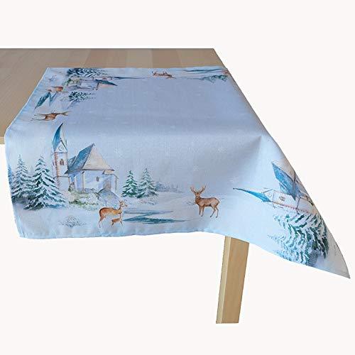 Kamaca - Tovaglia 85 x 85 cm, motivo chiesa in inverno, stampa di alta qualità, motivo lurex un gioiello in inverno (tovaglia 85 x 85 cm)