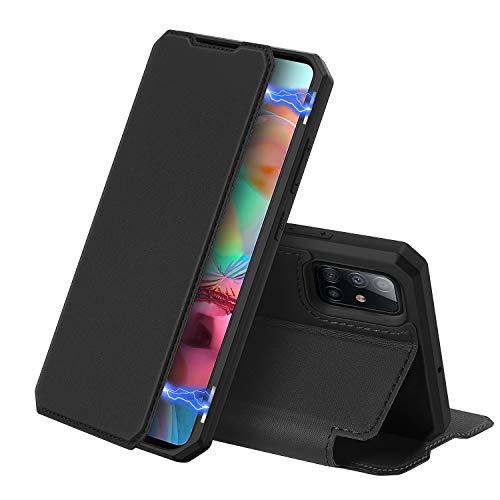 DUX DUCIS Hülle für Samsung Galaxy A71, Premium Leder Magnetic Closure Flip Schutzhülle handyhülle für Samsung Galaxy A71 Tasche (Schwarz)