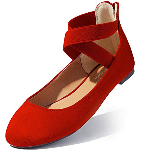 Flat Shoe with Strap Classic Flats for Women Shoe Ballet Ankle Strap Elastic Casual Shoes Round Toe Slip On Comfy Soft Walking Drive Flats Slip-on Red,sv,8