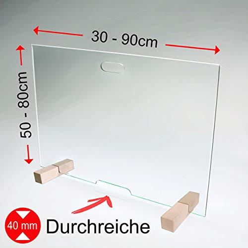 bijon Spuckschutz Thekenaufsatz aus Sicherheits-Glas mit Durchreiche   Hygienischer als Plexiglas und Acryl-Glas   M3 (HxB 50 x 30 cm)