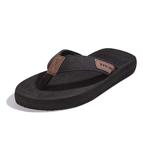 FITORY Men's Flip-Flops, Thongs Sandals Comfort Slippers for Beach Black Size 7