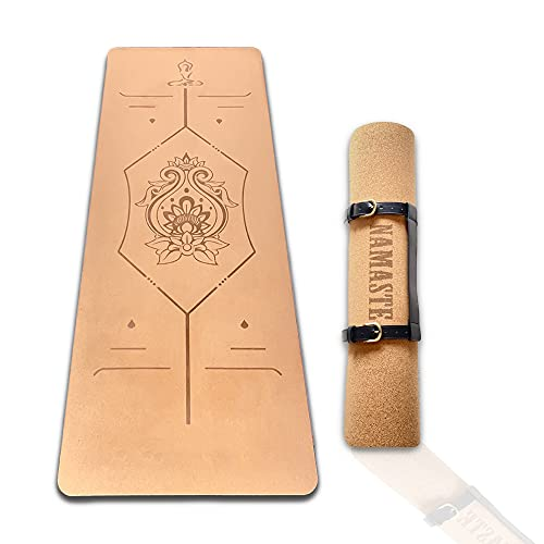 Esterilla antideslizante de Yoga ecofriendly KILIGS + correa para transportar, Yoga mat. Fitness mat profesional de corcho reciclable