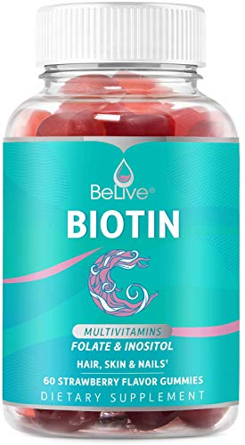 Biotin Gummies with Hair Vitamins - Supports Hair Growth, Skin & Nail, Vegan, Pectin Based, Added Essential Multivitamins - Strawberry Flavor (60 Count)