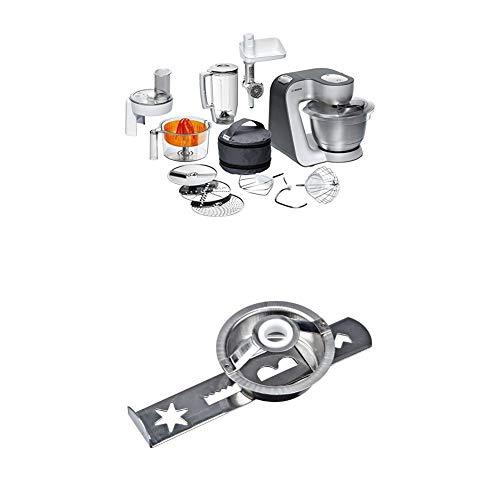 Bosch MUM56340 Küchenmaschine Styline / 900 Watt / Edelstahl-Rührschüssel / Durchlaufschnitzler / Mixeraufsatz Kunststoff + Spritzgebäckvorsatz für Fleischwolf zu Küchenmaschinen (MUM4, MUM5) weiß