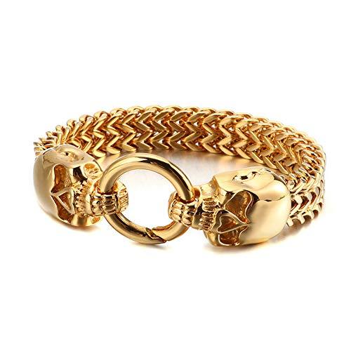 YCYR Men's Gothic Bracelet, Punk Hip Hop Stainless Steel Biker Link Curb Chain, Vintage Wristband Bangle Jewelry 9.05 Inch,Skull