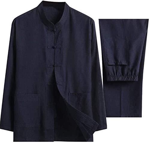 HLZY Uniformes Tradicionales Chinos de Tai Chi Kung Fu Tai Chi Uniform Ropa, Conjunto de Lino de algodón Chino Taiji Qigong Artes Marciales ala Chun Shaolin Kung Fu (Color : D, Size : X-Large)