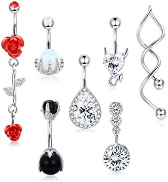 Besteel 14G 316L Stainless Steel Dangle Belly Button Rings for Women Clear CZ Reverse Rose Flower product image