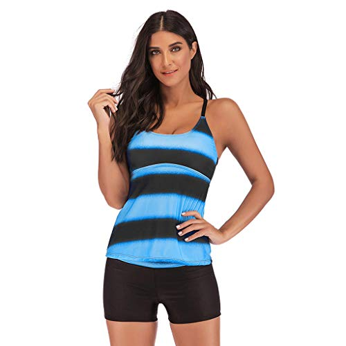GOKOMO Frauen Plus Größe hohe Taille konservativen Farbverlauf Split Badeanzug Plus Größen-Steigungs-Tankini-Bikini-Badebekleidungs-Badeanzug-Badeanzug(Blau,X-Large)
