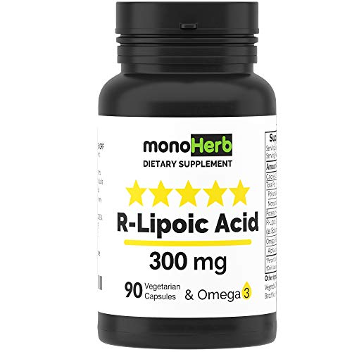 R-Lipoic Acid 300 mg - 90 Vegetarian Capsules - Stabilized R-Alpha-Lipoic Acid