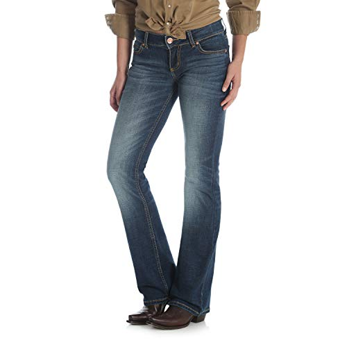 Wrangler Women's Retro Mae Mid Rise Stretch Boot Cut Jean,Dark Blue,15W X 34L
