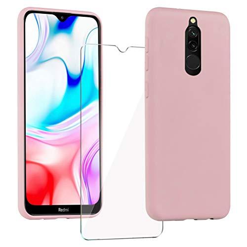 XinYue - Funda para Xiaomi Redmi 8 + Protector Pantalla, Carcasa de Silicona Líquida Gel Ultra Suave Funda con tapete de Microfibra Anti-Rasguño - Rosa