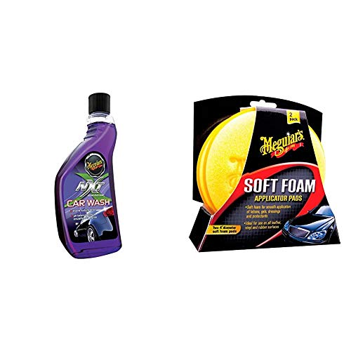 Meguiar's G12619EU NXT Car Wash Autoshampoo, 532 ml & X3070 Soft Foam Applicator Pads Auftragsschwamm, 2-er Pack