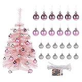 MXXDB Tabletop Christmas Tree with Lights, Small Pink Christmas Tree...