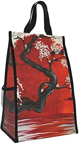 Bolsa de almuerzo plegable, bolso de picnic japonés de gran capacidad con aislamiento portátil para viajes de oficina de trabajo
