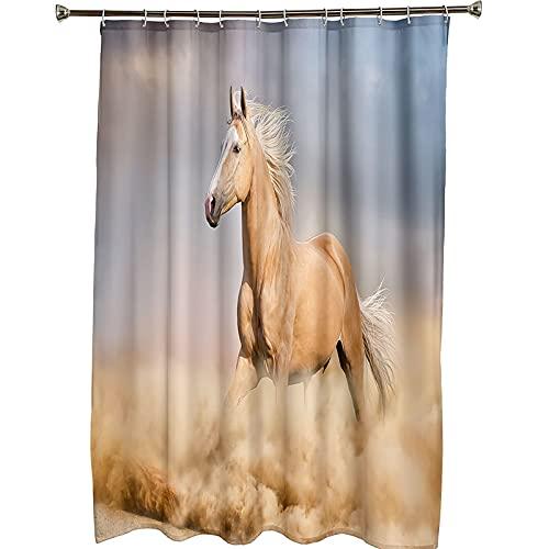 Bishilin Badewanne Vorhang 165x200 Antischimmel, Badezimmer Duschvorhang Wasserdicht Pferde Motiv