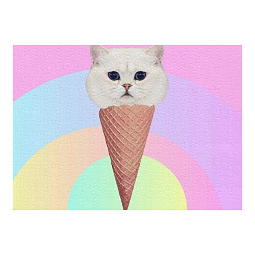 CUXWEOT Custom Puzzles Ice Cream Cat 300 Pieces Jigsaw Puzzle Funny Novelty DIY Toys for Adult Children Gift Home Decoration