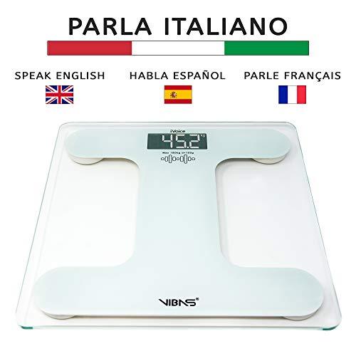 Vibas iVoice - Báscula de mano parlante en italiano y multilingüe, pilas incluidas, voz clara, capacidad de carga de 180 kg, apagado automático, cristal templado de 6 mm, garantía italiana de 2 años