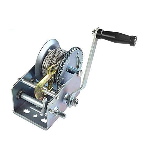 FZYE Engranaje de Gusano de cabrestante Manual, cabrestante de Engranaje de manivela Manual con Alambre de Acero de 8 m, Remolque de Barco de trinquete bidireccional de operación Manual