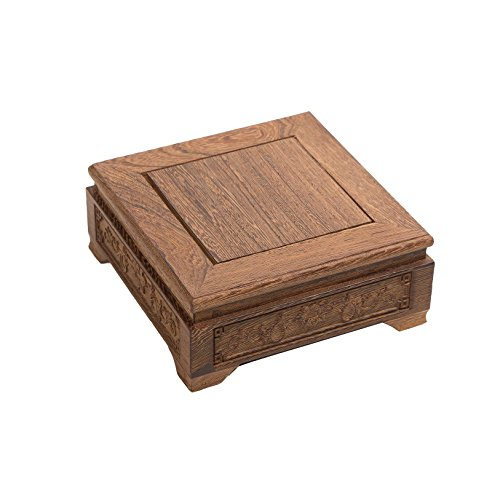 LuoLuo Chinese Display Stand Square Shape Carved Solid Rosewood JiChi Wood Wooden Vase Jar Stands Flower Pot Fish Bowl Base Holder Home Decoration (S 15.5cm15.5cm6.5cm)