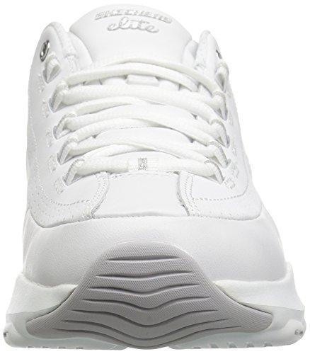 Skechers D'Lite Ultra-Illusions, Zapatillas Deportivas Mujer, Multicolor (WSL White Leather/Silver Trim #L), 41 EU