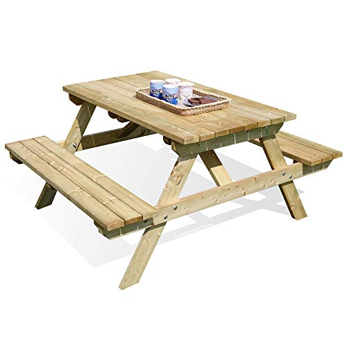 4 Foot Pub Picnic Bench Table - 4 Seater Outdoor Pressure Treated Garden Furniture By Westmount Living