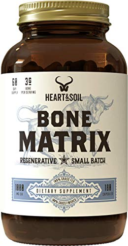 Heart & Soil Grass Fed Bone Matrix — Supports Bone and Joint Health, Strength, and Flexibility (180 Capsules)