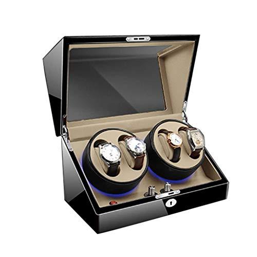 SGSG Devanadera de Reloj de Madera de Lujo con Almohadillas de Reloj Suaves y Flexibles 4 + 6 Espacios de bobinado Iluminación LED Azul incorporada Motor silencioso para 10 Relojes