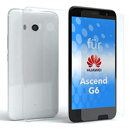 EAZY CASE Silikonhülle und Panzerglas Set kompatibel mit Huawei Ascend G6 I Bildschirmschutzglas, Panzerglas 0,3 mm 9H Festigkeit, Schutzhülle Ultra dünn, TPU/Silikon Hülle, Backcover, Transparent/Kristallklar