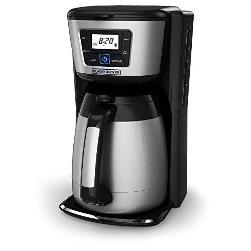 BLACK+DECKER 12-Cup Thermal Coffeemaker, Black/Silver, CM2035B (Renewed)