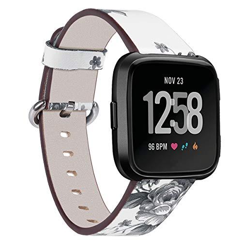Correas de Reloj de Cuero Compatible con Fitbit Versa 2 / Versa 2 SE/Versa Lite/Versa smartwatch, Gransho Bandas de Reloj de Piel de Becerro auténticas de la Vendimia Hombres Mujeres (Pattern 1)