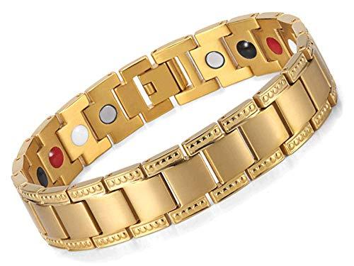 CLL Mens Vintage Magnetic Bracelets For Arthritis Hot Flush Flushes Menopause Magnet - Unisex (Silver & Gold)