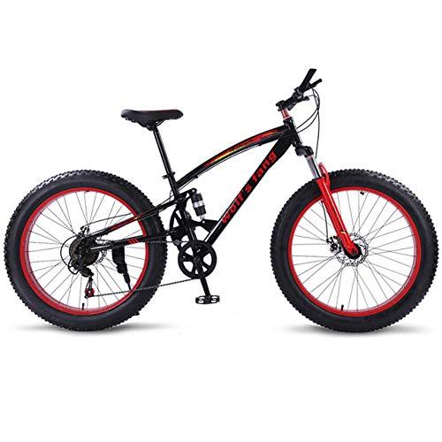 cuzona Bicicleta Bicicleta de montaña 7/21 Velocidad Bicicletas gordas 26 * 4 0 Bicicleta de Carretera Bicicleta de Nieve Full Shockingprllf Cuadro Macho -Negro_Rojo_7velocidad_China