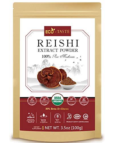 Reishi Mushroom Extract Powder 20:1,USDA Organic, 30% Beta-D-Glucan Supplement, 3.5oz