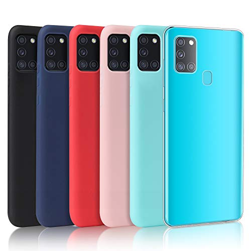 Oureidoo [6 Stücke] Samsung Galaxy A21S Hülle, Handyhülle für Samsung Galaxy A21S, Handy Hülle in Schwarz + Blau + Rot + Rosa + Minzgrün + Transparent