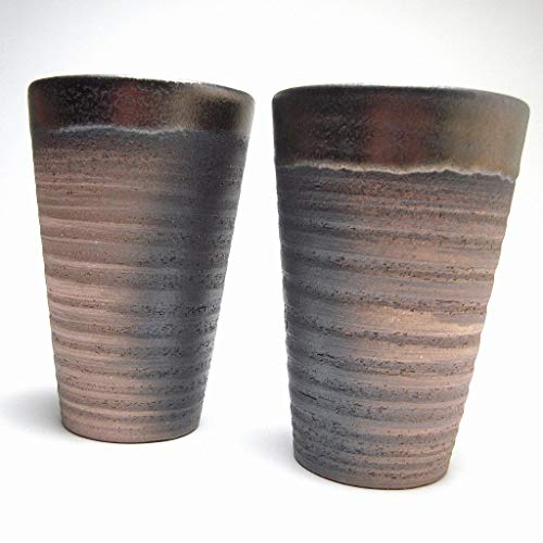 Sake and gifts thousand old grilled Bizen pair cup set ( with basket ) non-woven fabric wrapping cloth made ??in Japan thousand old grilled