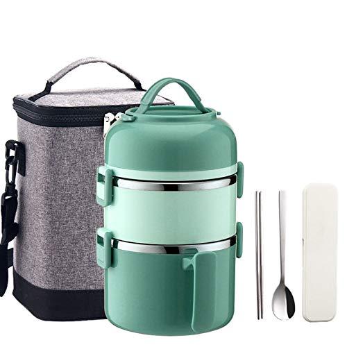 Thermo-Lunchbox,Thermobehälter, Warmhaltebehälter Essen, Lunchbox Snackbox,Ideal für Schule, Picknicks, Reisen,Grün,2200ml