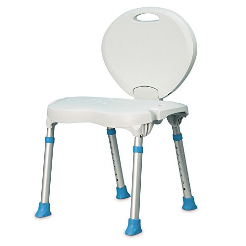 AquaSense Folding Bath and Shower Seat with Non-Slip Seat and Backrest, White Michigan