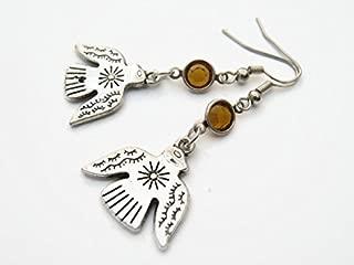 Thunderbird Birthstone Earrings, Personalized Bird Earrings, Native American Earrings, Pacific Northwest Jewelry