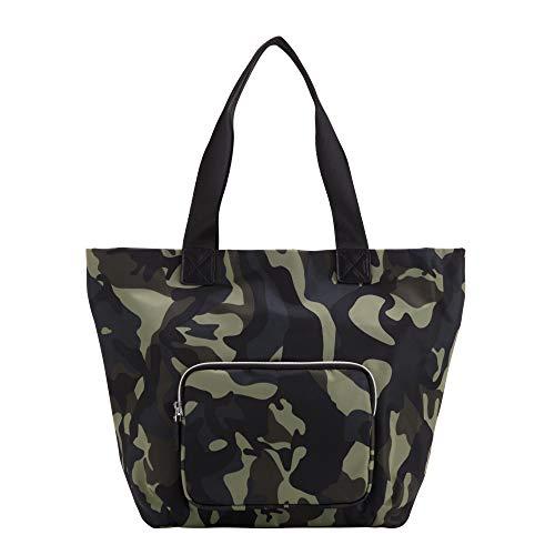 CARPISA Bolso shopper mujer con bolsillo frontal - BLENDA REMIX Verde Militare/Multicolor Talla única