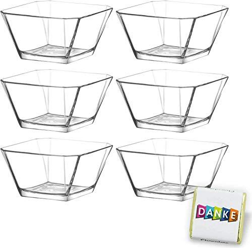 6 Stück Glasschalen im Set, Design Snack Schalen für Frühstück, Party, Vorspeise Glasschale, Dessertschale, Knabberschale aus Glas, 265ml Gläser, lebensmittelechte Müsli Glasschüsseln Karen
