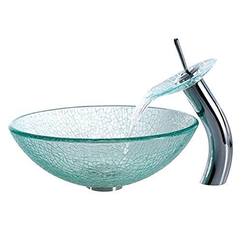 Homelavafans Gehärtetes Glas Waschbecken mit Wasserfall Wasserhahn, Wasserablauf und Montage Ring Rund (Transparent)