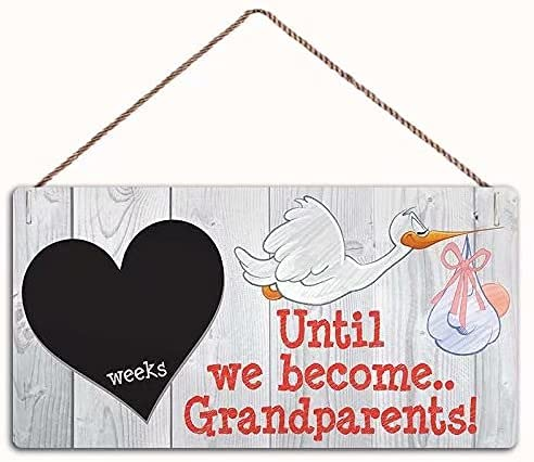 Dreacoss Placa de madera retro para colgar en la pared – Weeks Until We Become Grandparents Pizarra colgante placa de madera para regalo de mamá papá placas de madera de 30,5 x 15,2 cm