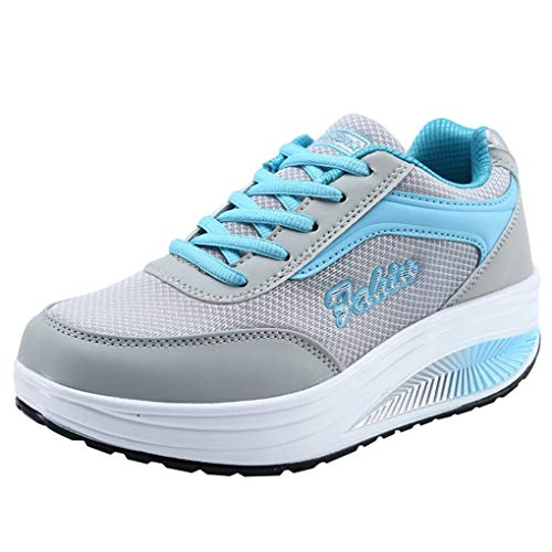 Dorical Damen Freizeitschuhe/Frauen Turnschuh Plateau mit Keilabsatz Sneaker Fitnessschuhe Outdoor Leichte Laufschuhe Gym Schuhe Sportschuhe Traillaufschuhe für Mädchen (Blau,36 EU)
