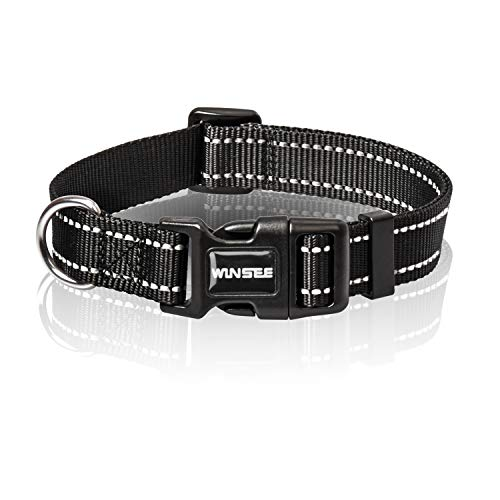 WINSEE Dog Collar Walking, Nylon Reflective Dog Collars with Quick Release Buckle, Easy Handle Adjustable for Medium Dogs, Black, S-M