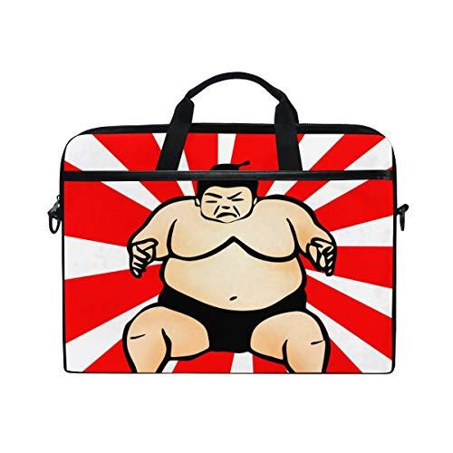 FOURFOOL 15-15.6 inch Laptop Bag,Sumo Wrestler Illustration,New Canvas Print Pattern Briefcase Laptop Shoulder Messenger Handbag Case Sleeve