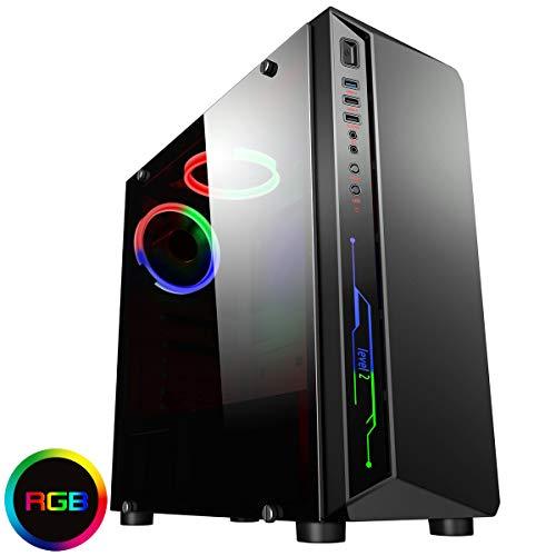 CiT Blitz PC Gaming-behuizing, Mid-Tower ATX, RGB-verlichting, Halo Single Ring RGB-ventilator, afneembaar stoffilter, voordelige RGB-behuizing, zwart