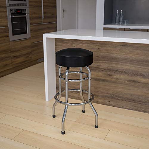 Flash Furniture 2 Pack Double Ring Chrome Barstool with Black Seat