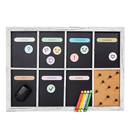 """Chalkboard Calendar for Wall - Magnetic Weekly Dry Erase Schedule Board - Framed Week Meal Planner, Family Organizer or Kids Chore Chart - 17"""" x 12"""" Decorative Rustic Wood Kitchen Chalk Board"""
