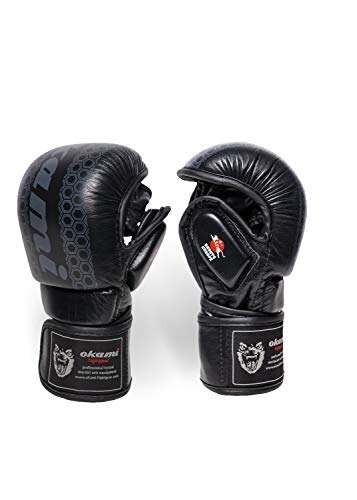 OKAMI Fightgear MMA Hi Pro Sparring Gloves, schwarz, S, OKMMAGL-SP-BE